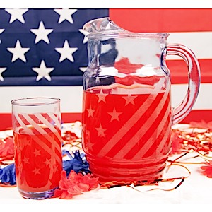 Patriotic Pitcher and Glass